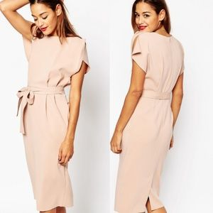 ASOS Blush Split Cap Sleeve Belted Pencil Dress